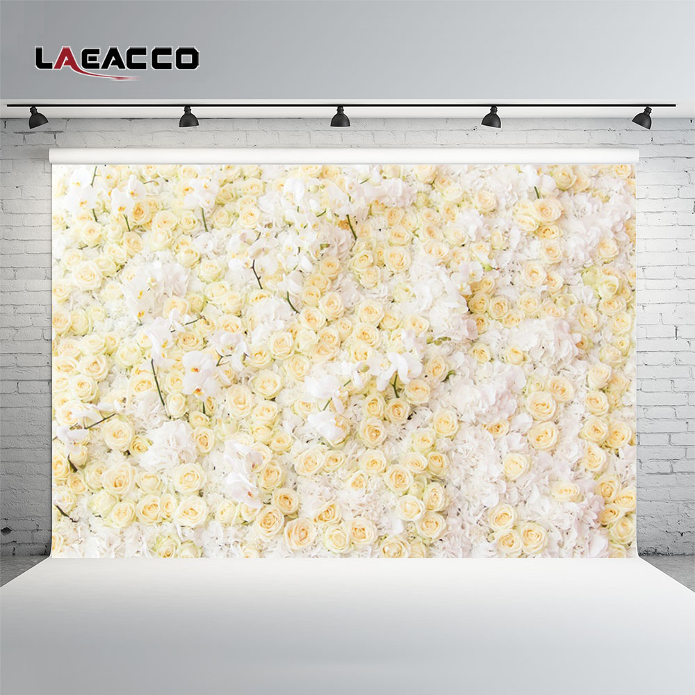Laeacco Blossom Flowers Wall Wedding Baby Children Photography Backgrounds Customized Photographic Backdrops For Photo Studio wedding photo backdrops white flowers hanging lights computer printing background gray wall murals backgrounds for photo studio
