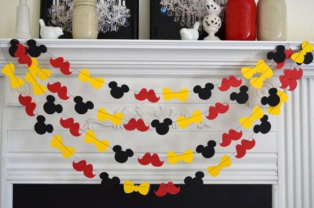 Env o gratis mickey mouse inspir papel garland banner for Tablero del deco del sitio del bebe