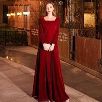 robe demoiselle d'honneur new Velvet sexy V neck long sleeve A Line burgundy wedding party dress long Muslim abiye gece elbisesi