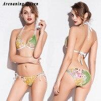 Arenaning Queen Stretch Floral Mesh Triangle Bikinis Women Swimwear Strappy Sexy Lingerie Beachwear Mini Micro Swim