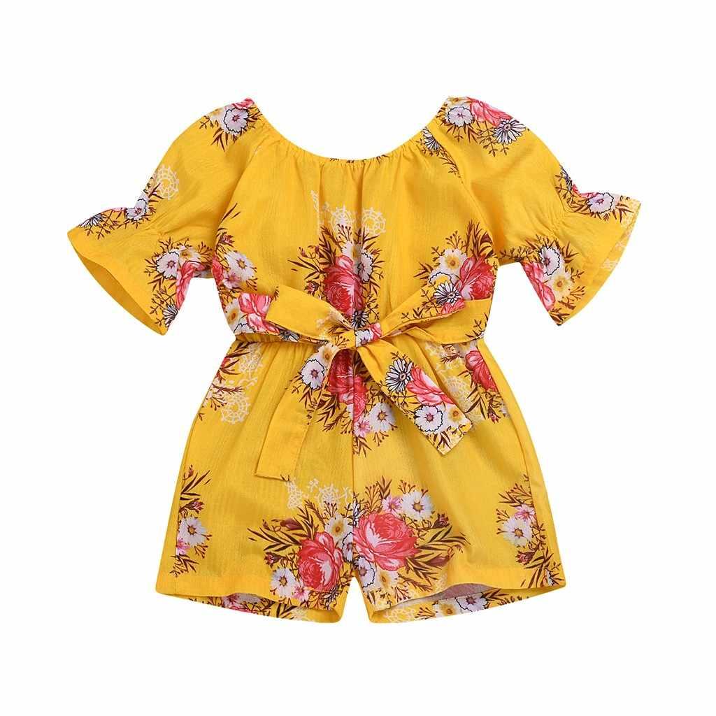 Детский комбинезон для девочек с короткими рукавами, с открытыми плечами, цветочный принт, комбинезон с бантом, Детский комбинезон для новорожденных девочек, Летний комбинезон 2019