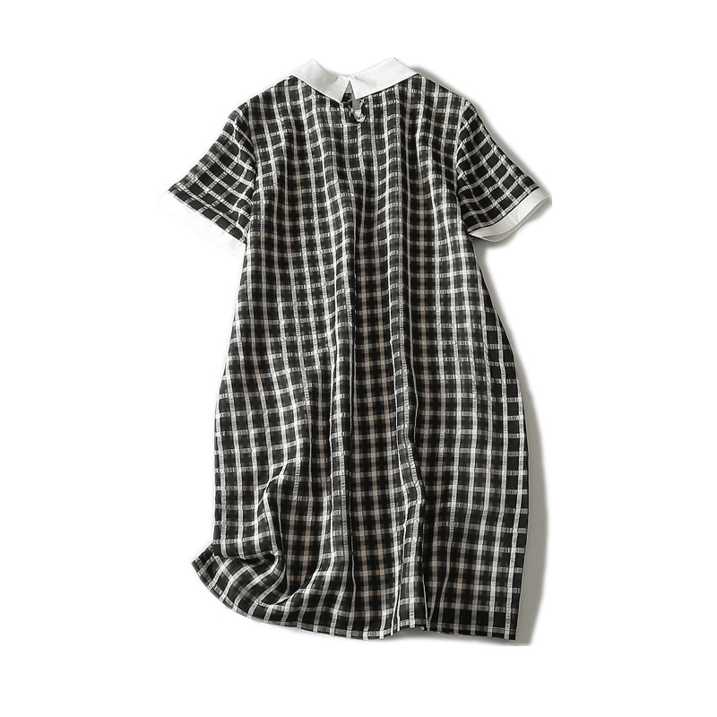 2019 Limited New A line Plaid Short Sleeve Appliques Knee length Natural Peter Pan Collar Summer Women Dress in Dresses from Women 39 s Clothing