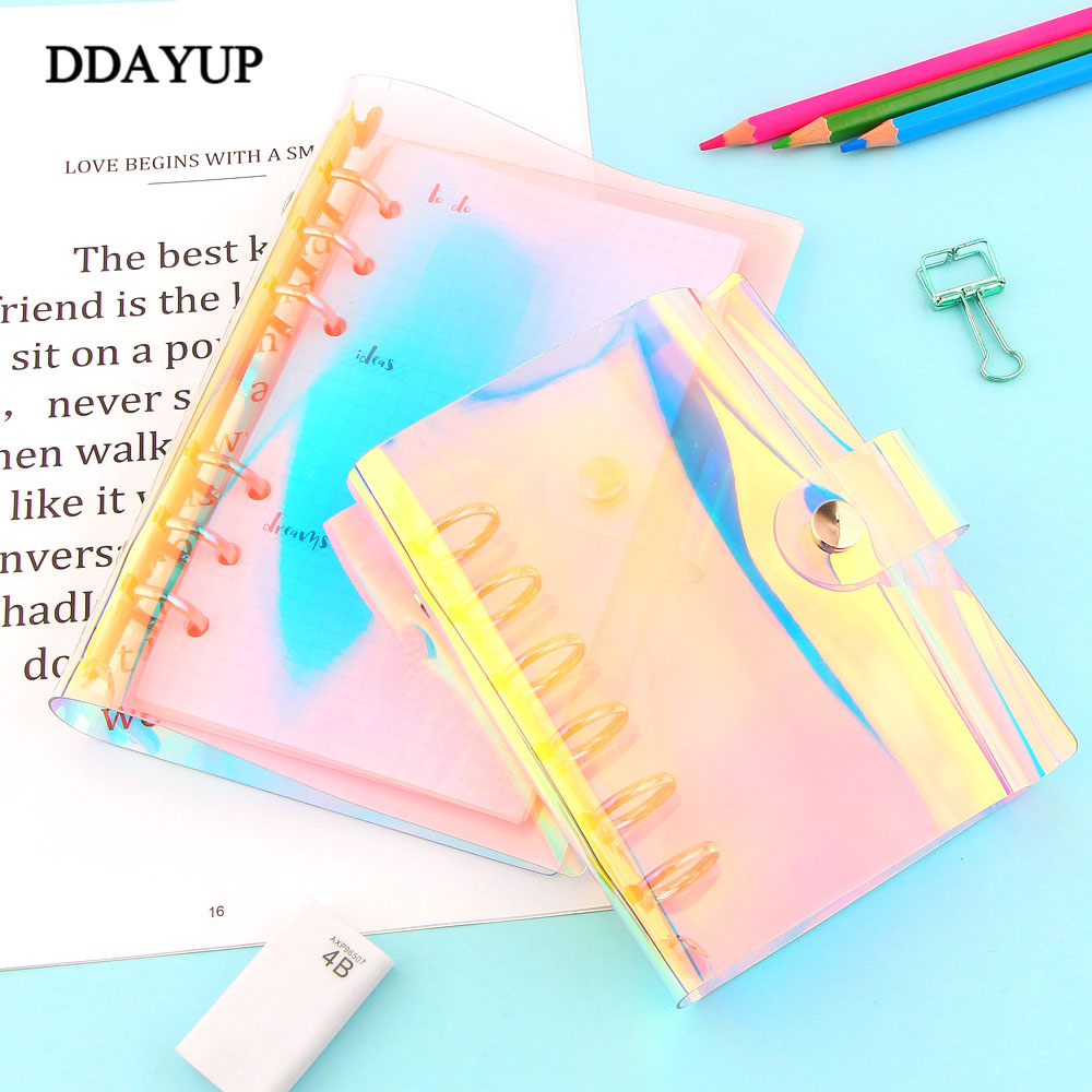 Creative Rainbow Laser Transparent Notebook diary Cover Glitter Loose leaf Note Book Planner Clip Office Supplies A5 A6 A7 in Notebooks from Office School Supplies