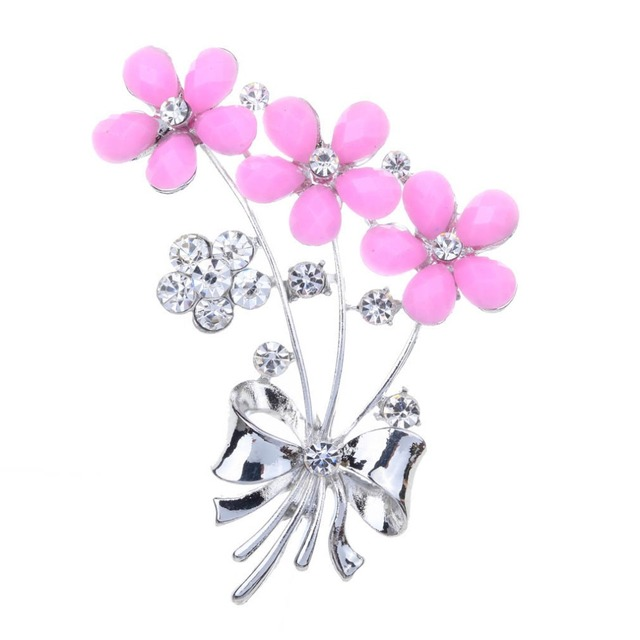 4062745d0 Pink Flowers Brooch Pins with Clear Crystal Rhinestones for Women Bride or  Wedding Bouquets