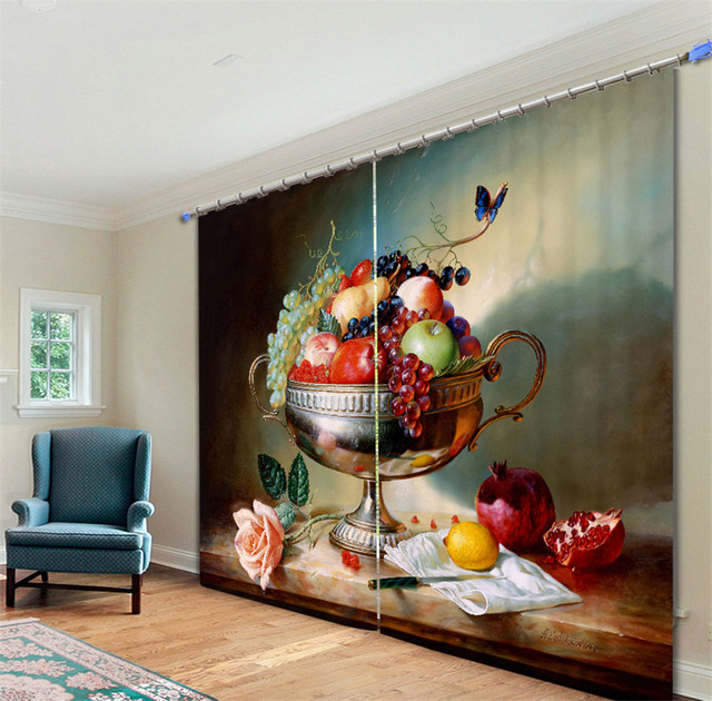 Modern Luxury Fruit oil painting 3D Blackout Window Curtains For girls Bedding room Living room Hotel Drapes Cortinas
