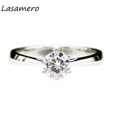 LASAMERO 0.5ct Lab Grown Diamond  Moissanites 6 Prongs 925 Sterling Silver Tapered Band Solitaire Engagement Ring
