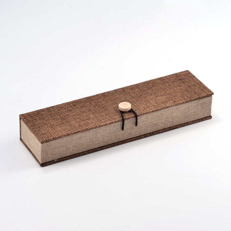 Pandahall 12pc Rectangle Wooden Necklace Boxes With Burlap And Velvet Camel Size:24.2*6.5*4.6cm