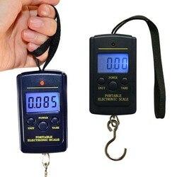 Портативные цифровые весы, прибор для взвешивания для рыбалки, багажа, путешествий, кухни с крючком 40 кг х 10 г