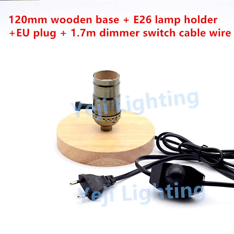 Antique  Edison lamp holder E26 E27 lamp holder wooden oak base with EU 2-PIN plug dimmer switch retro Lighting Accessories DIY