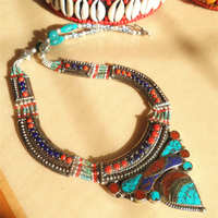 TNL583 Nepal Indian copper inlaid Colorful Stone Big Pendant Necklace Multi Statements Tibetan jewelry
