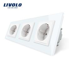 Livolo Новый ЕС стандартный мощность разъем, Outlet панель, тройной стены розетка без вилки, закаленное стекло C7C3EU-11/2/3/5