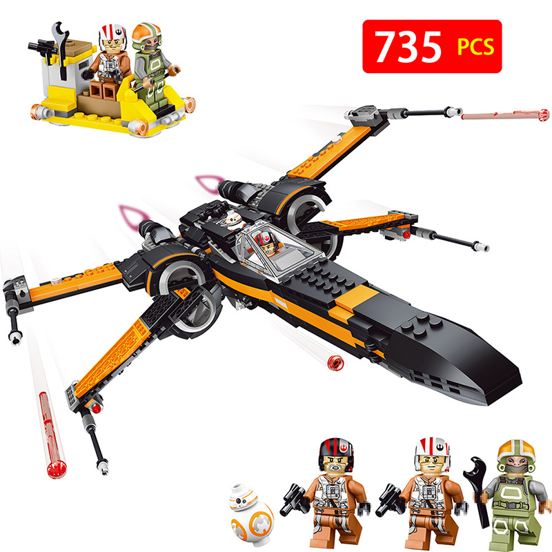 цена на 05004 Poe's X-wing Fighter Starwars Building Blocks Fighter Assembled Fighter Compatible with LegoINGLYS Star Wars X Wing Toys