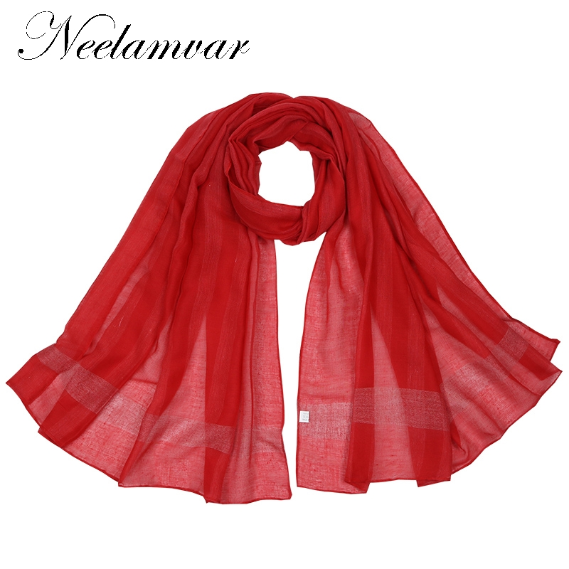 Neelamvar all-match fashion women scarf 2018 striped print cotton scarves ladies Autumn and Winter shawls echarpes from India