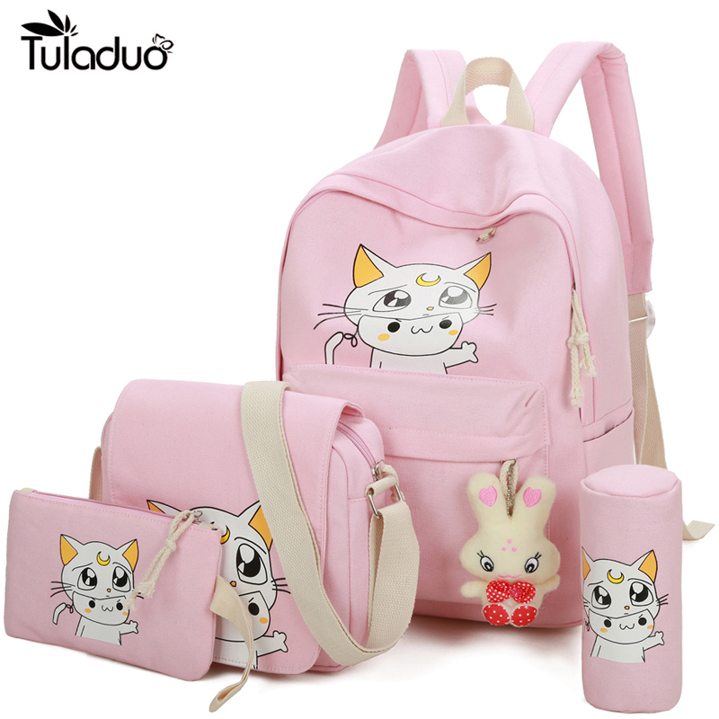 4Pcs/Sets 2017 Women Backpacks Cartoon Printing School Backpack Canvas Schoolbags for Teenage Girls Students Bag Children Casual women casual backpack for teenage girls children school bags bagpack lady laptop backpack student book bag schoolbags pink blue