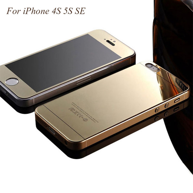 best loved 30cf7 b8f79 US $8.89 |Front+Back Tempered Glass Film For iPhone SE 5 5S 4.0 inch Full  Cover Mirror Effect Color case for iPhone 4 4S Protective Film on ...