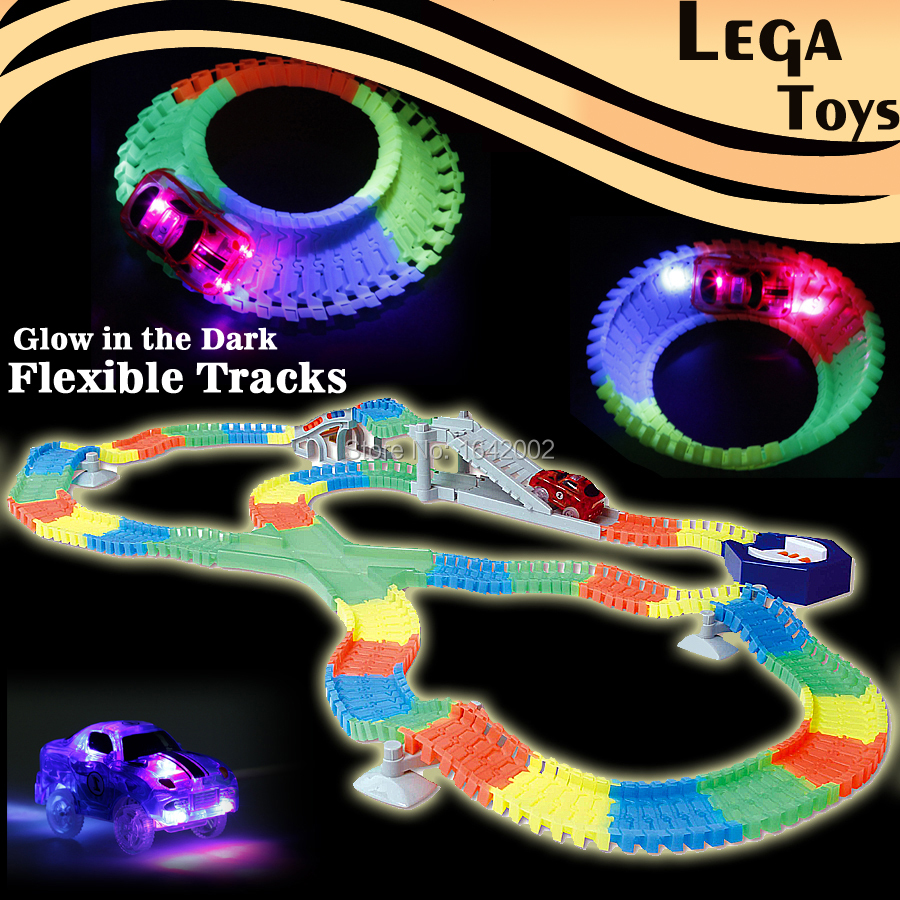 Create A Road Flashing Flexible Glow race track Bend Flash in the Dark Flashing 5 LED Lights Assembly Educational Toys for Kids