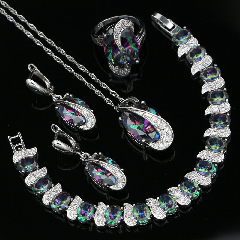 Mystic Rainbow Cubic Zirconia White CZ 925 Sterling Silver Jewelry Sets For Women Party Necklace/Earrings/Pendant/Ring/BraceletMystic Rainbow Cubic Zirconia White CZ 925 Sterling Silver Jewelry Sets For Women Party Necklace/Earrings/Pendant/Ring/Bracelet