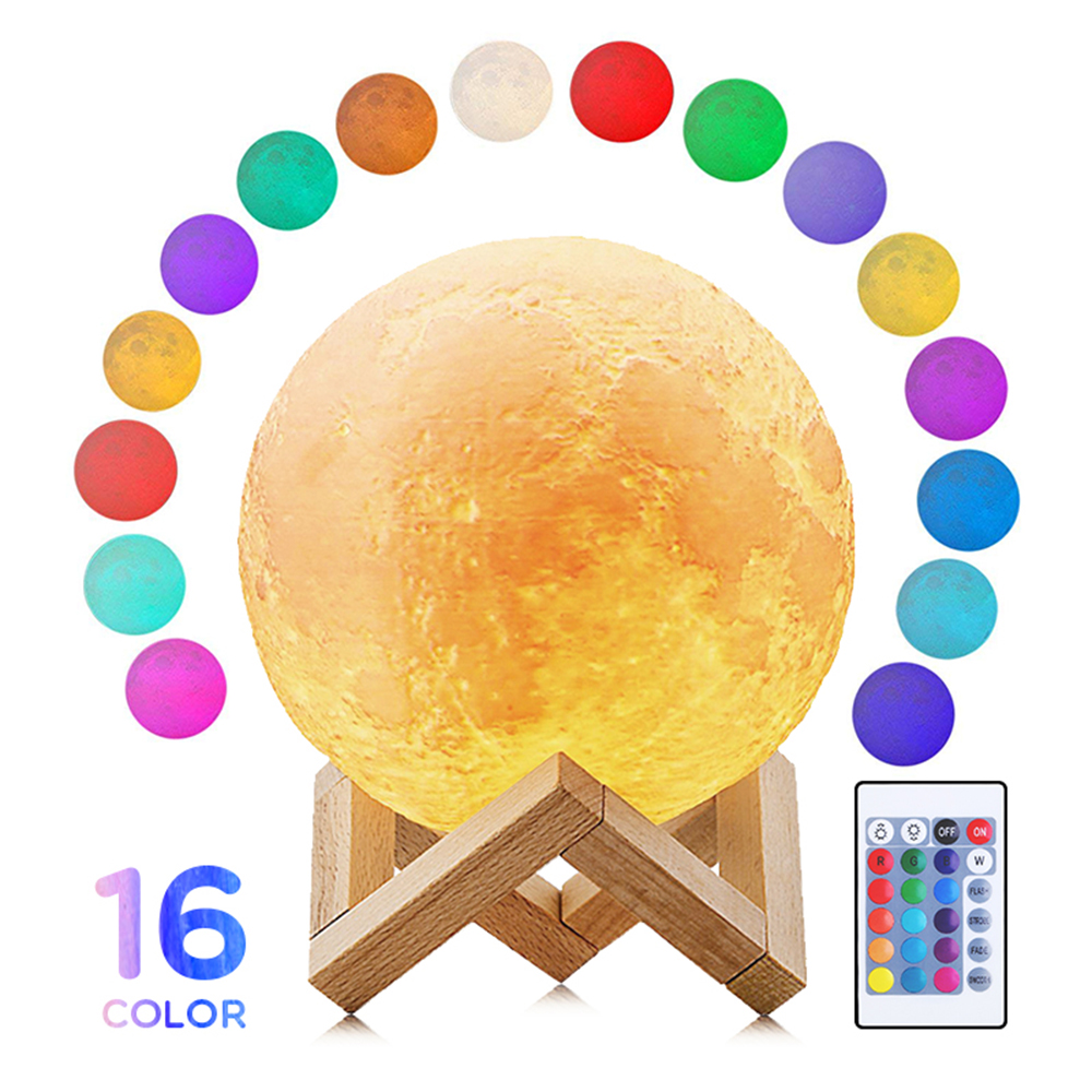 16 Colors 3D LED Printing Moon Light Lunar Night Lamp Home Light with Wood Stand & Remote & Touch Control Baby Kids Lover Party