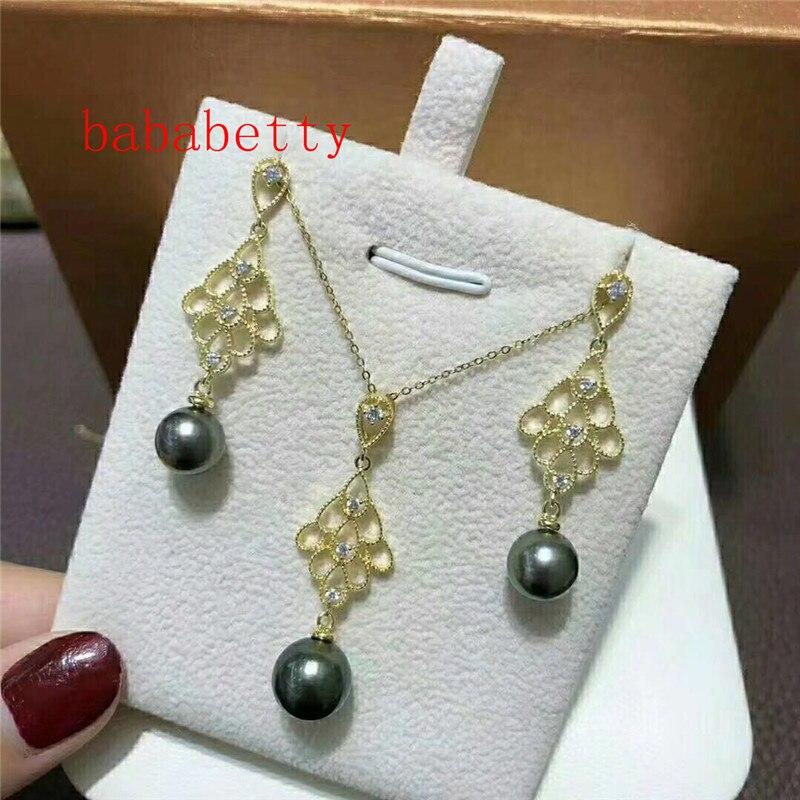 Nouveau beau naturel 10 MM coquille perle boucles d'oreilles pendentif 925 en argent sterling ensemble 003