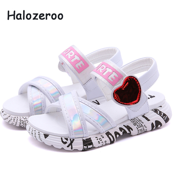 New 2019 Summer Kids Beach Sandals Baby Girls Heart Princess Sandals Children Pu Leather Shoes White Brand Flats Soft Sandals