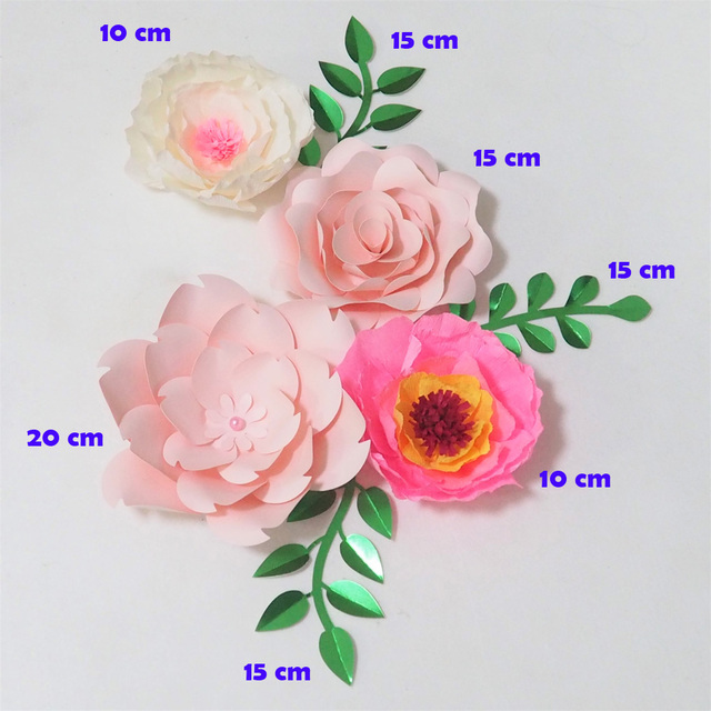 2018 giant crepe paper flowers artificial flores artificiale 4pcs 3 2018 giant crepe paper flowers artificial flores artificiale 4pcs 3 leaves for wedding event backdrop mightylinksfo