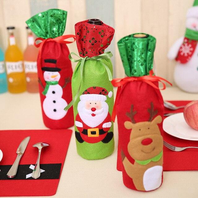 Christmas Decorations Santa Claus Wine Bottle Bags Snowman Home Dinner Table Decors 1