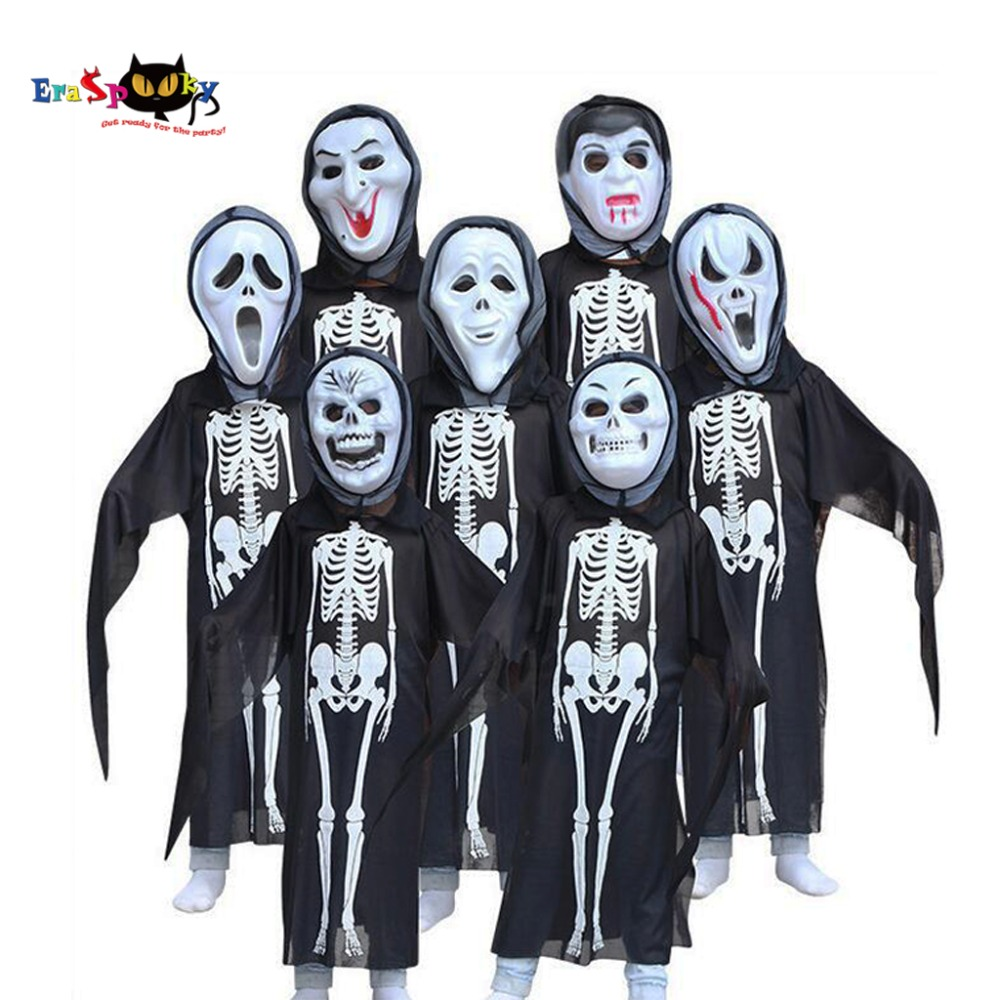 Devil Costume Girls Halloween Fantasy Costume For Kids Scary Boy Skeleton Costume with Mask Black Halloween Party Cosplay Set
