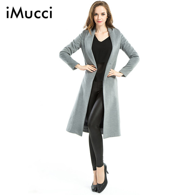 2016 Latest Long Trench Coat for Women Autumn Winter Fashion Turn-down Collar Long Sleeve Wide-waisted Women Coat With Belt