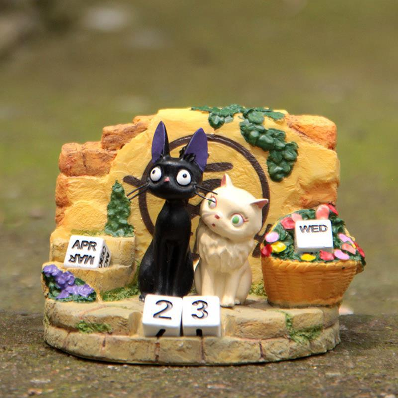 Studio Ghibli Model Toys Kiki's Delivery Service Couple JiJi Cat Resin Calendar Action Figure Toys Collection Toy for Home Decor lps pet shop toys rare black little cat blue eyes animal models patrulla canina action figures kids toys gift cat free shipping