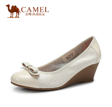 Camel leather shoes genuine bow round the slope with a single shoe 2015 spring and summer women's singles shoes A51058600