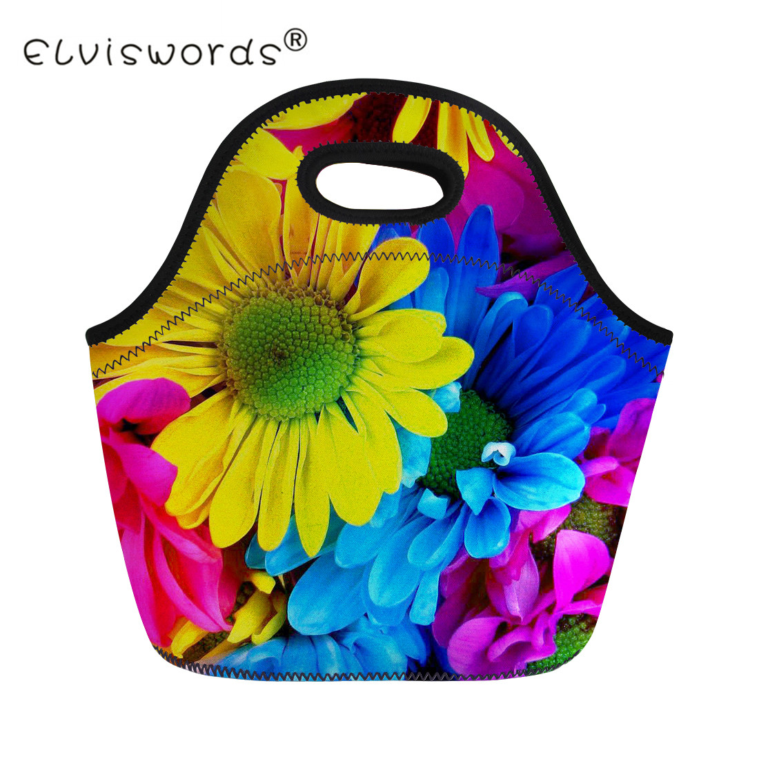 ELVISWORDS Colorful Flower Daisy Women Portable Food Bags Girls Floral Lunch Bags Picnic Kids Children Lunch Packet Lancheira