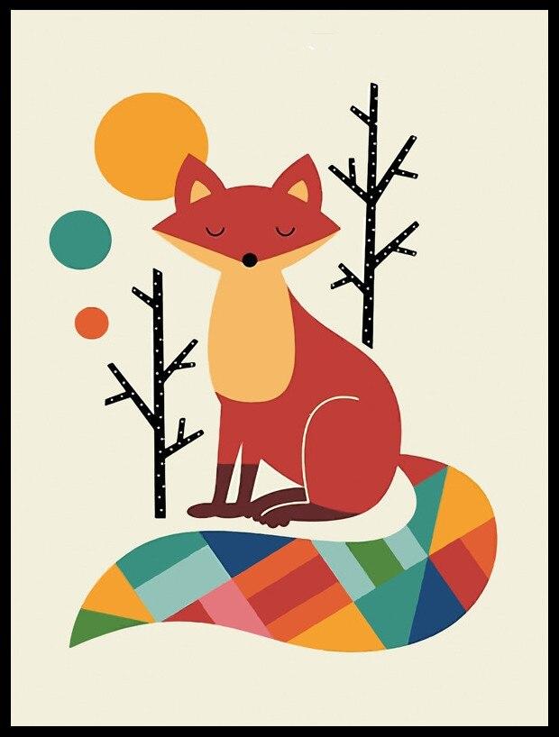 Animales de dibujos animados flores zorro lienzo imprime imágenes de ...
