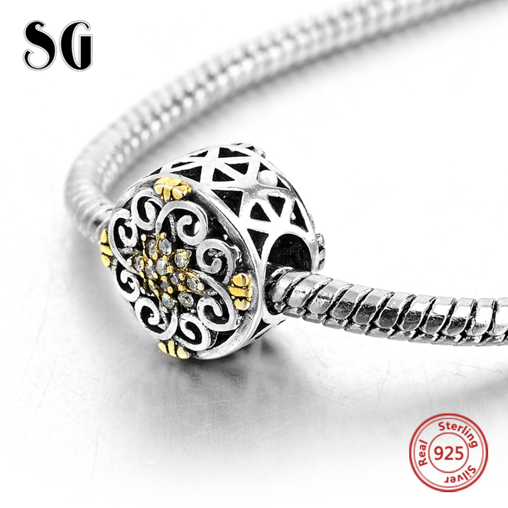 Fit Authentic Pandora Charms Bracelet Silver 925 Original Yellow CZ Flower With Celtic P ...
