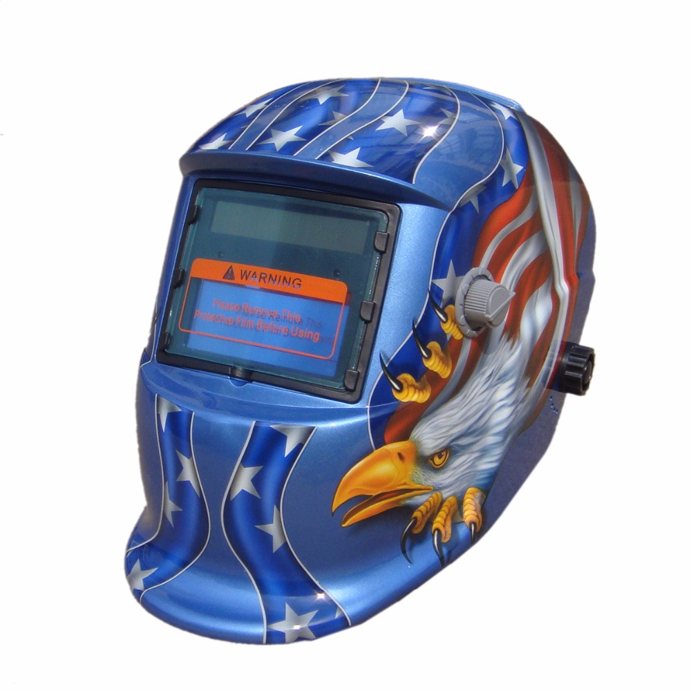 LY-BU Eagle Solar auto darkening TIG MIG MMA Electric Welding Mask/Helmet/Welding Lens for Welding Machine OR Plasma Cutter Blue din7 din12 shading area solar auto darkening welding helmet protection face mask welder cap for zx7 tig mig welding machine
