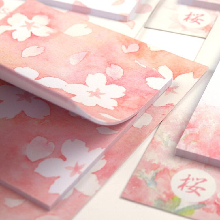 1pack/lot Artistic Kawaii Sakura Beautiful Flowers Self-Adhesive Sticky N Times Office School Supplies Post It Memo Pad