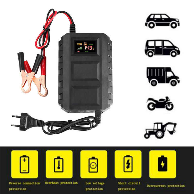 12V 20A Smart Battery Charger For Auto Motorcycle US/EU Plug Dropshipping Lead Acid Intelligent LCD Display Car Charger Black