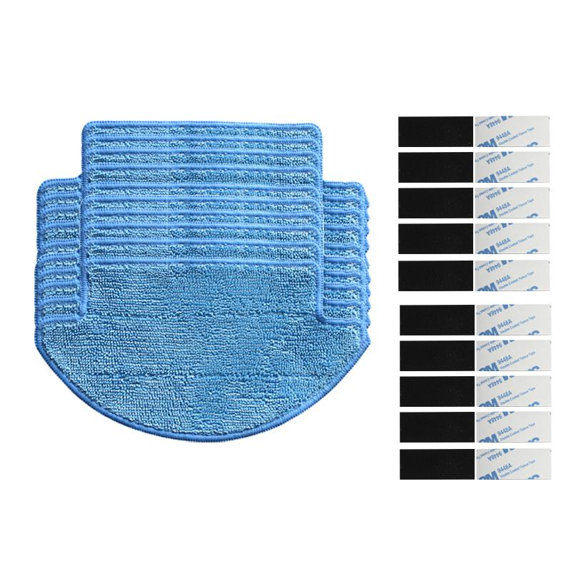 10pcs mop Cloths + 10pcs magic paste for Xiaomimi Robot Vacuum Cleaner Parts xiaomi robot cleaning mop cloth Replacement kit 12pcs lot high quality robot vacuum cleaner wet mop hobot168 188 window clean mop cloth weeper vacuum cleaner parts