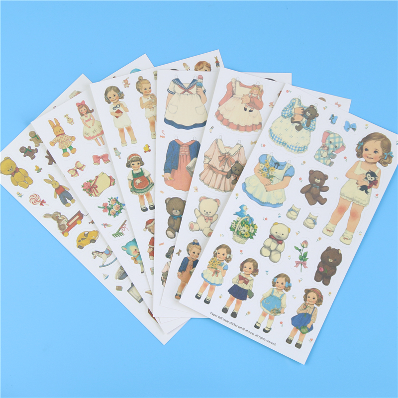 6 Pcs/lot, Free Shipping Cute Toy Stickers Paper Girl Combination Paper Doll Mate fashion spider pattern tattoo paper stickers black 10 pcs