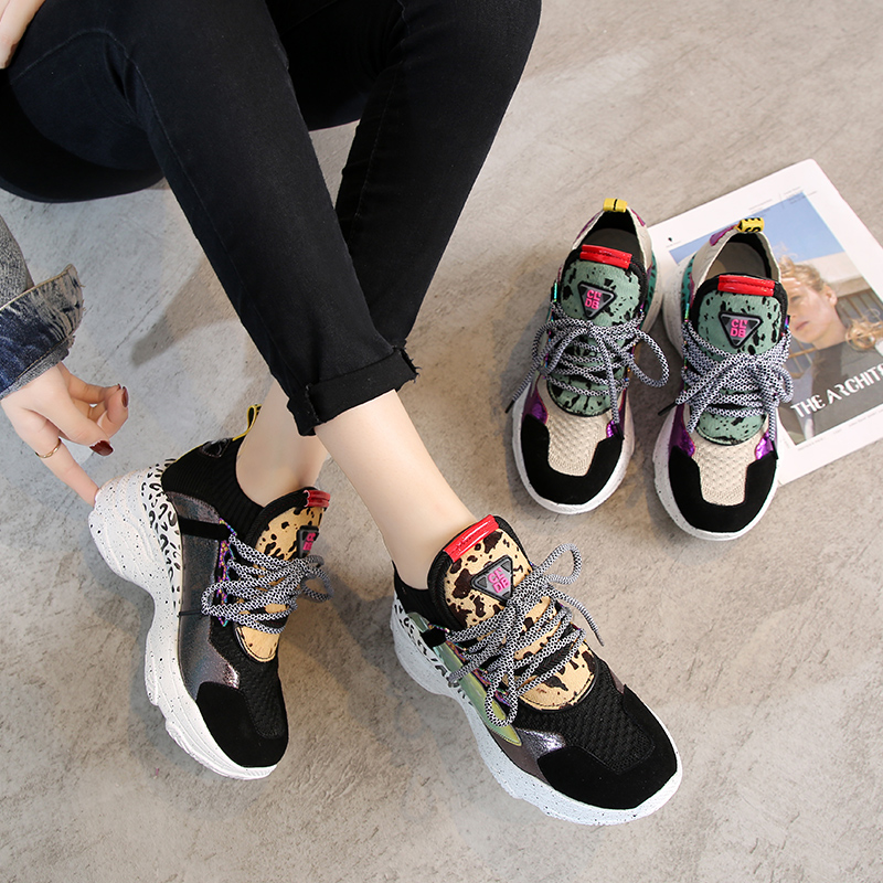 Women Chunky Platform Sneakers Knit Thick Soled Increased Shoes Women 2019 Autumn Breathable Woman Running Shoes Lady Footwear