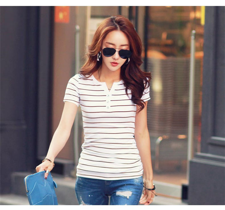 HTB1oPhcbA9E3KVjSZFGq6A19XXab - Women T-Shirt Cotton Short Long Sleeve Lady T Shirt Striped Summer Spring Autumn Female Blusa White Plus Size Fashion Top Tee T0