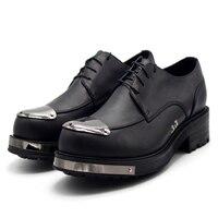 2018 мужская обувь кожаные саквояжи Соединенными Штатами и Западом из натурального плотного Дерби ручной работы; мужские туфли