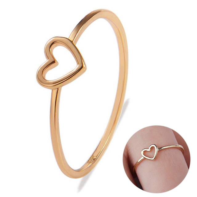 Romantic Gold/Silver Love Heart Shaped Women's Ring