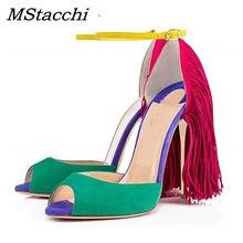 3647d89aae MStacchi 12 cm Alta Lace-Up Sandálias Sexy Peep Toe de Camurça Cores  Misturadas Vermelho Verde Amarelo Borla Sandália Cut -out S..