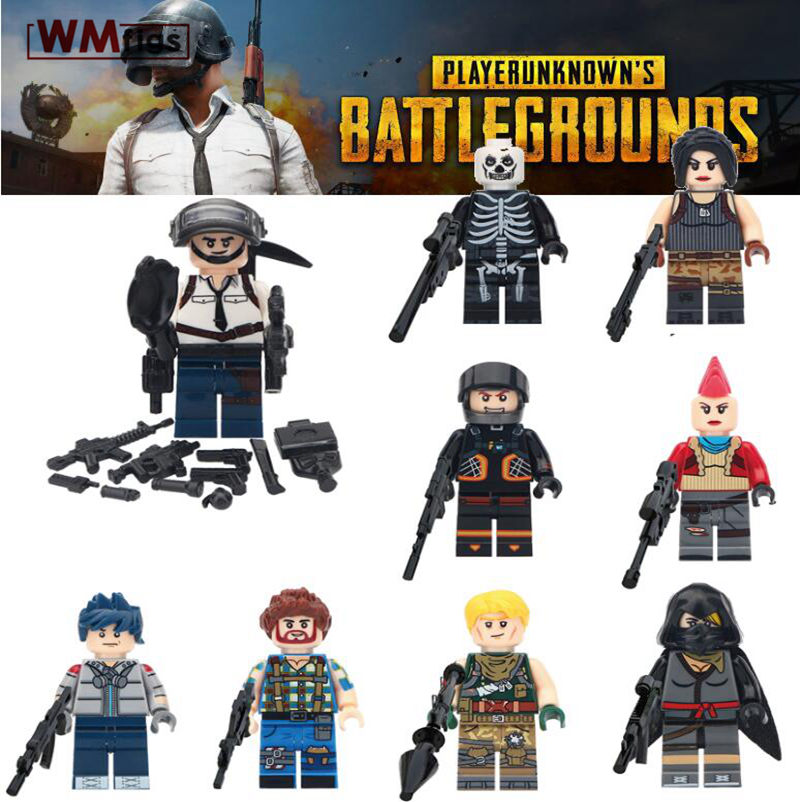 Amicable 30pcs/lot Playerunknowns Battlegrounds A Tactical Competitive Shooting Sandbox Game Model Kit Building Blocks Toys For Children High Safety Model Building