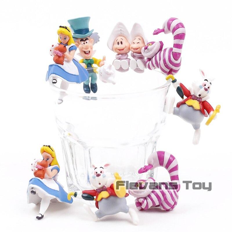 Il Bordo della Tazza di Alice nel Paese Delle Meraviglie Alice Mad Hatter Cheshire Cat Coniglio Bianco PVC Figure Giocattoli Bambole 5 pz/set