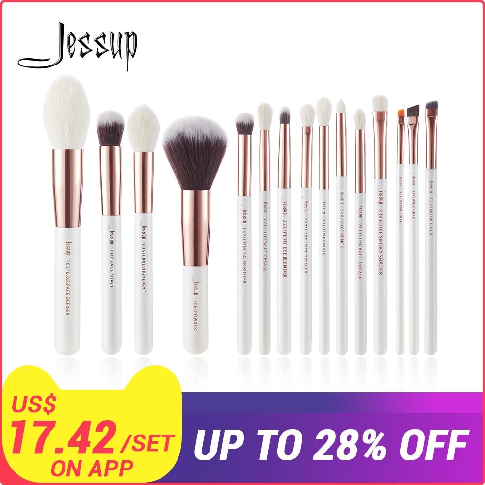 Jessup/blanco oro rosa maquillaje profesional de los cepillos conjunto cepillo kit de herramientas de la Fundación en polvo natural sintético pelo