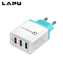 for Samsug s8 s9 Huawei Universal 18 W USB Quick charge 3.0 5V 3A for Iphone 7 8 EU US Plug Mobile Phone Fast charger charging 3 usb quick charge 3 0 5v 3a eu us for iphone 7 8 eu us plug mobile phone fast charger charging for samsug s8 s9 xiaomi note 7