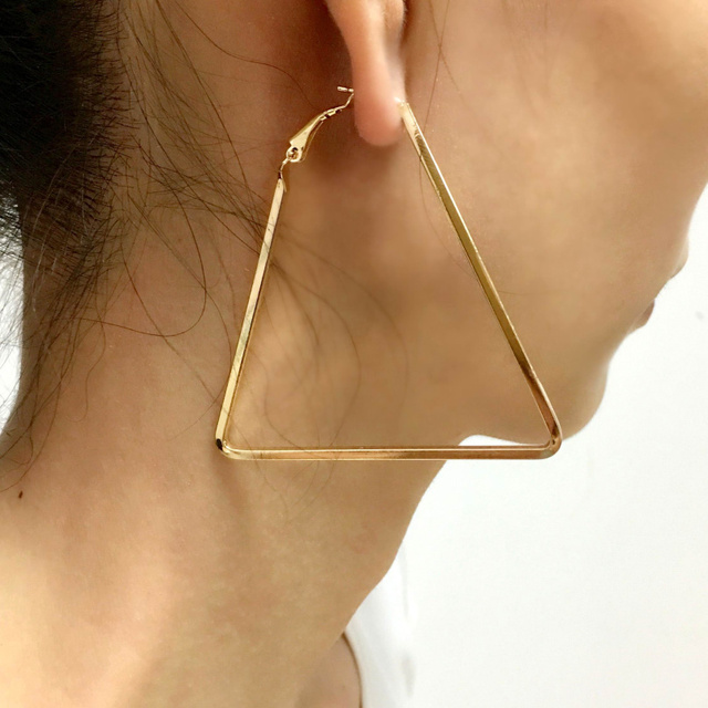 1e7ad495001e0 US $1.69 15% OFF|Punk 60mm Big Metal Triangle Hoop Earrings For Women  Fashion Jewelry Boho Geometric Earrings Simple Style Pendientes UKMOC-in  Hoop ...