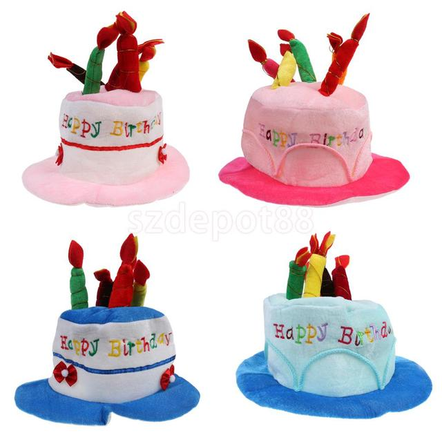 Soft Velvet Kids Adult Happy Birthday Hat Cake Costume With Mock Candles Fancy Dress Party