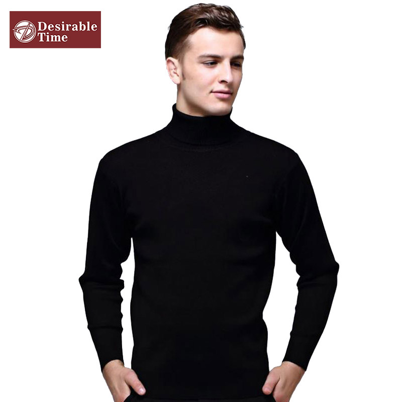 Mens Black Wool Turtleneck Sweater Slim Fit Solid Men Knit